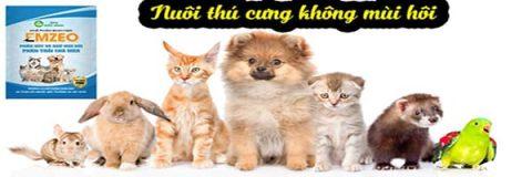 Khử mùi hôi phân thải chó mèo và thú cưng Emzeo sử dụng để khử mùi hôi chuồng trại cho nhiều loại thú cưng khác nhau